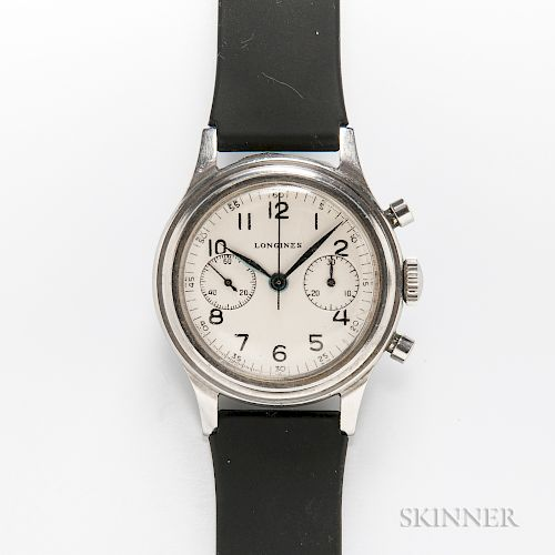 """Rare Longines Stainless Steel 13ZN """"Fly-back"""" Chronograph Wristwatch"""