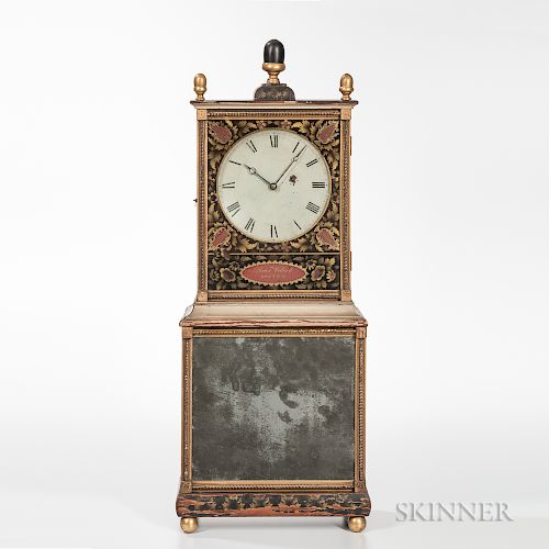 """Aaron Willard Federal Painted and Stencil-decorated """"Bride's"""" Shelf Clock"""