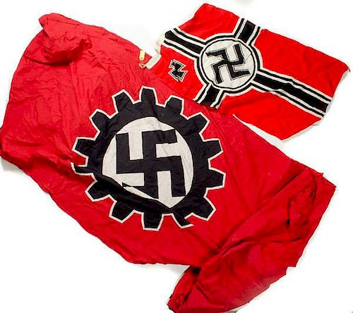 German WWII Kriegsmarine Flag and Labor Flag, Lot of Two by