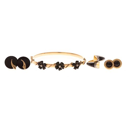 fc80bcee0413fd A Collection of Black Onyx Gold Jewelry by Alex Cooper Auctioneers ...