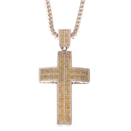 A Yellow & White Diamond Cross & Cable Chain 10K