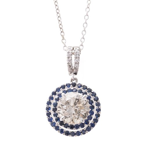 A Lady's 2.66ct Diamond Pendant with Sapphires