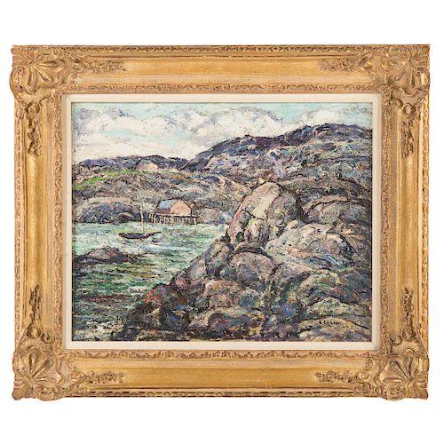 "Ernest Lawson. ""Rocky Coast, Nova Scotia,"" oil"
