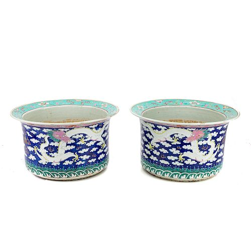 Pair Chinese Export porcelain jardinieres