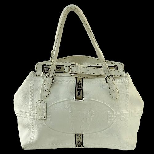 80176a318ed9 Fendi White Leather Selleria Tote Horse Bag. Lot 129. Prev Lot · Next Lot ·  item Image