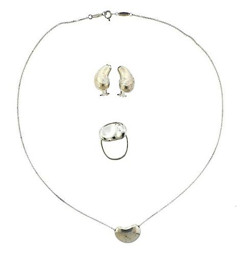 b052bc5875d98 Tiffany & Co Peretti Bean Sterling Ring Necklace Earrings Lot by ...