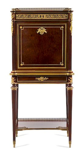 A Louis XVI Style Gilt Bronze Mounted Secretaire a Abattant Height 53 3/8 x width 25 1/8 x depth 15 1/4 inches.