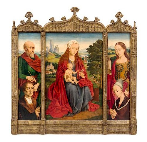 Flemish School, (18th/19th Century), Madonna and Child in a Landscape Flanked by Saints and Donors (triptych)