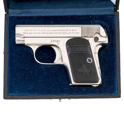 Factory Nickel Colt 1908 Automatic Pocket with Box by