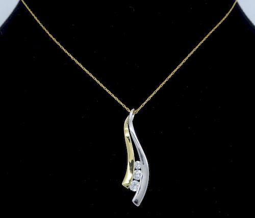 14K Two Tone Gold Journey Style Diamond Necklace