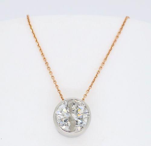Bezel Set Diamond Necklace on Rose Gold Chain