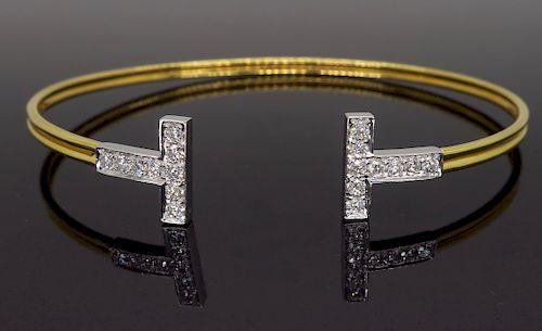 T Gate Style Diamond Bangle in 18K Gold