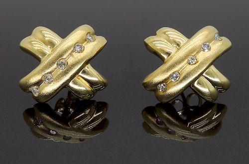 14K Brushed Gold Diamond X Shaped Earrings