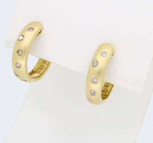 14K Brushed Yellow Gold Diamond Hoop Earrings