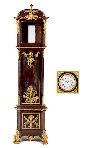 A Louis XVI Style Gilt Bronze Mounted Mahogany Tall Case Clock Height 105 x width 24 1/2 x depth 11 1/2 inches.