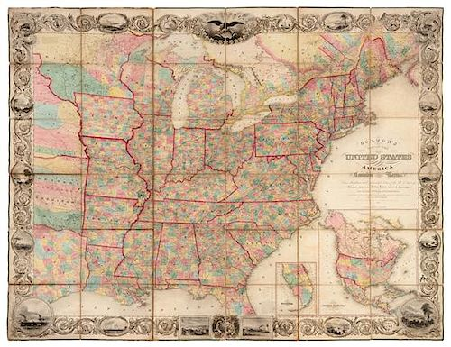 New York Map 1800.Colton J H Colton S Map Of The United States Of America New York