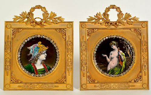 2 French Enameled Miniature Portraits in Bronze