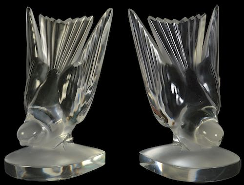 Pr. Lalique Crystal Hirondelle Swallow Bookends