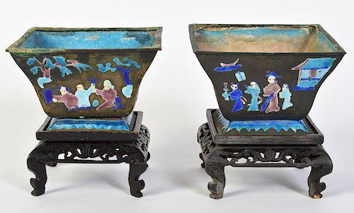 Pr. Chinese Painted Enameled Metal Planters