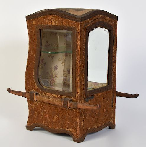 Early 19C. Fabric Covered Sedan Chair Display Case