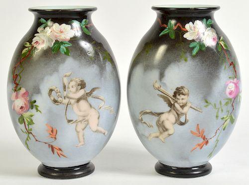 Pr. Rare Porcelain Signed Baccarat Vases