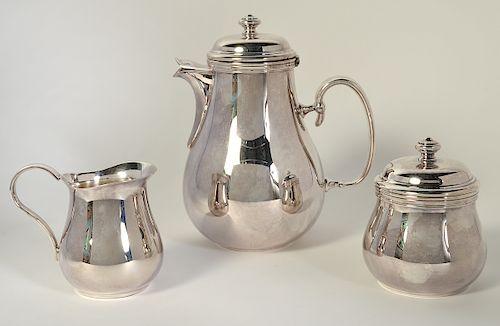 Christofle 'Albi' S/P Coffee Pot, Sugar & Creamer