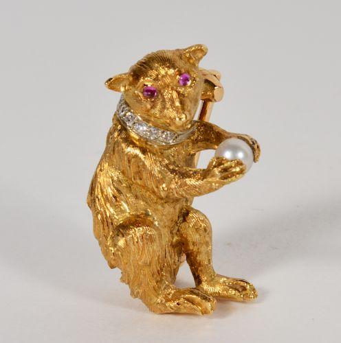 Italian 18Kt. Gold, Diamond, Ruby & Pearl Bear Pin