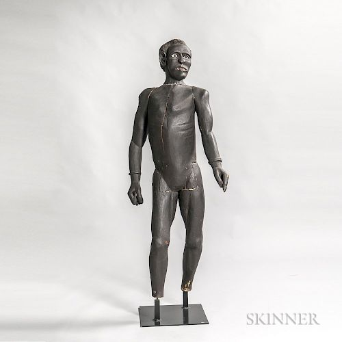 Carved and Painted Pine Figure of an African American Man