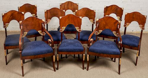 10 Russian Neoclassic Mahogany Chairs, Including 2 Armchairs and and 8 Side Chairs