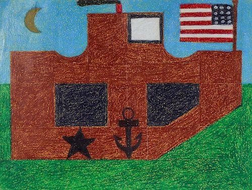 "Eddie Arning (1898-1993) ""Ship with Flag on Green Sea"", c. 1965"
