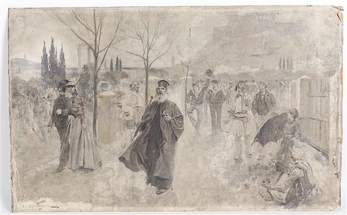 * J. Andre Castaigne, (French, 1855-1945), On the Way to the Stadium (Olympic Games of 1896), 1896
