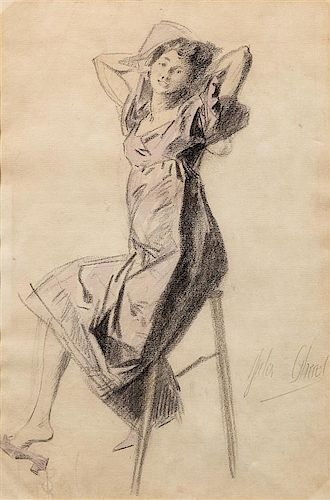 Jules Cheret, (French, 1836-1932), Figure Study