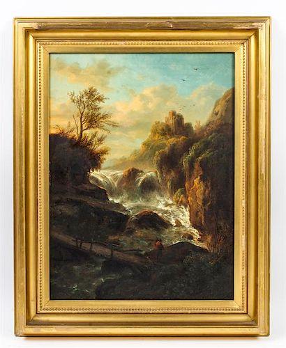 Eugene Van Hove, (European, 19th century), Traveler Passing a Waterfall