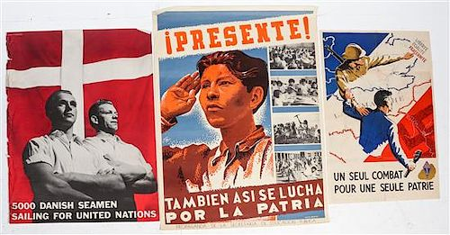 * A Group of Five European WWI and WWII Posters Largest 37 x 27 1/2 inches.