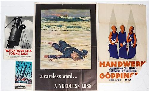 * A Group of Eight WWII Posters Largest 40 x 28 1/2 inches.
