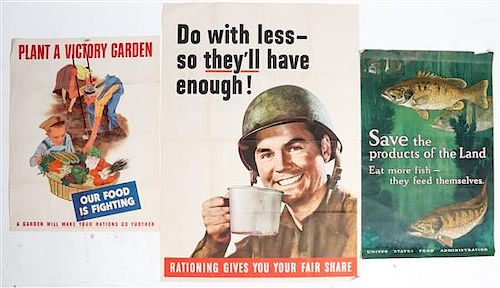 * A Group of Eight American WWII Posters Largest 39 7/8 x 28 1/4 inches.