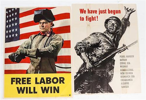 * A Group of Four American WWII Posters Largest 40 x 28 1/2 inches.