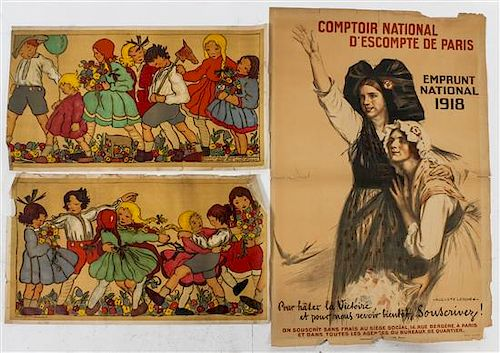 * A Group of Five French WWI Posters Largest 47 1/2 x 31 inches.