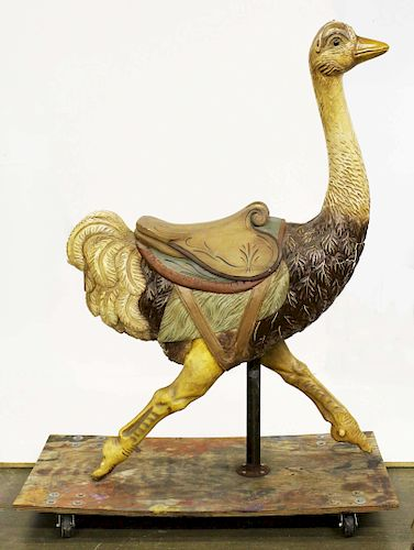 early 20th c Ostrich wooden carousel figure by Duane Merrill and Co