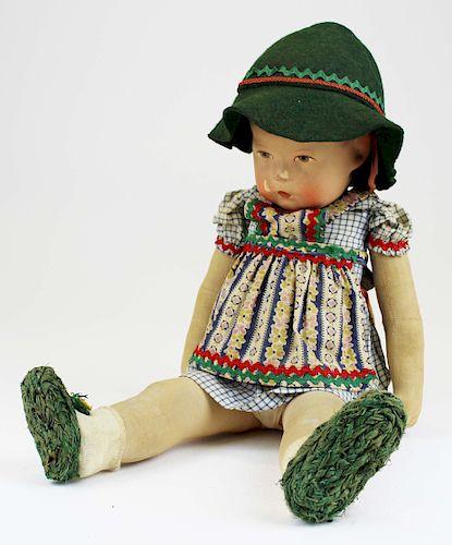 early 20th c Kathe Kruse composition girl doll