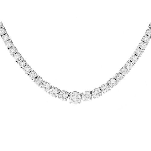 25.0ct Diamond and 18K Gold Riviera Necklace.