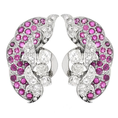 Antique Ruby, Diamond and Platinum Ear Clips