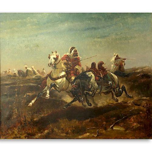 "After: Adolf Schreyer Oil/Canvas ""Arabian Warriors"