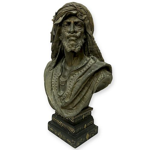 19th Century French Spelter Arab Bust Figure