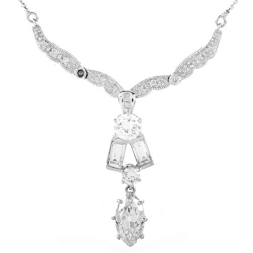 5.24ct TW Diamond and Gold Pendant Necklace