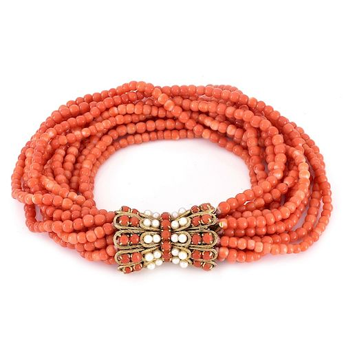 Coral Bead and 14K Gold Bracelet