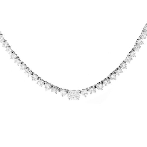 25.0ct Diamond and 14K Gold Riviera Necklace