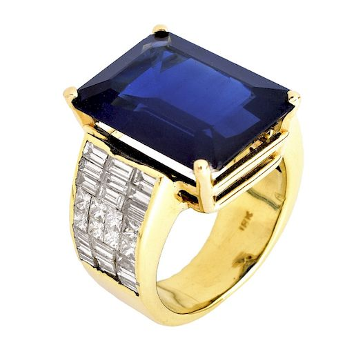 AGL 17.25ct Sapphire, Diamond and 14K Gold Ring