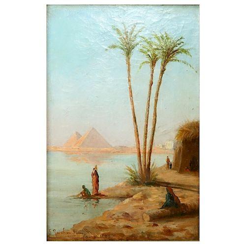 """Early 20th C Orientalist School O/C """"Pyramids"""""""
