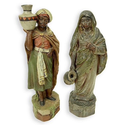 Two Vintage Polychrome Pottery Bedouin Figures